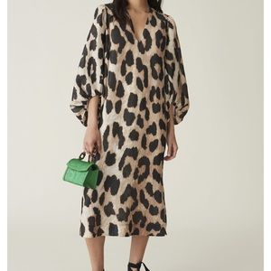 Leopard Print Long Sleeve Linen & Silk Maxi Dress